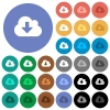 Cloud download round flat multi colored icons - Cloud download multi colored flat icons on round backgrounds. Included white, light and dark icon variations for hover and active status effects, and bonus shades on black backgounds.