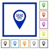 Bank ATM GPS map location flat framed icons - Bank ATM GPS map location flat color icons in square frames on white background