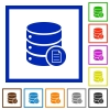 Database properties flat framed icons - Database properties flat color icons in square frames on white background