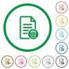 Delete document flat icons with outlines - Delete document flat color icons in round outlines on white background