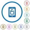 Smartphone unlock icons with shadows and outlines - Smartphone unlock flat color vector icons with shadows in round outlines on white background