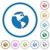Earth icons with shadows and outlines - Earth flat color vector icons with shadows in round outlines on white background
