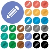 Single pencil round flat multi colored icons - Single pencil multi colored flat icons on round backgrounds. Included white, light and dark icon variations for hover and active status effects, and bonus shades on black backgounds.