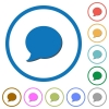 Blog comment bubble icons with shadows and outlines - Blog comment bubble flat color vector icons with shadows in round outlines on white background