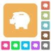 Left facing piggy bank rounded square flat icons - Left facing piggy bank flat icons on rounded square vivid color backgrounds.