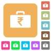 Indian Rupee bag rounded square flat icons - Indian Rupee bag flat icons on rounded square vivid color backgrounds.
