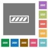 Progress bar square flat icons - Progress bar flat icons on simple color square backgrounds