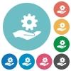 Maintenance service flat round icons - Maintenance service flat white icons on round color backgrounds