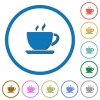 Cup of coffee icons with shadows and outlines - Cup of coffee flat color vector icons with shadows in round outlines on white background