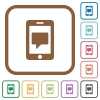 Mobile messaging simple icons - Mobile messaging simple icons in color rounded square frames on white background
