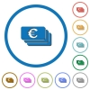 Euro banknotes icons with shadows and outlines - Euro banknotes flat color vector icons with shadows in round outlines on white background