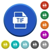 TIF file format beveled buttons - TIF file format round color beveled buttons with smooth surfaces and flat white icons
