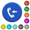 Incoming phone call beveled buttons - Incoming phone call round color beveled buttons with smooth surfaces and flat white icons