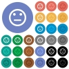 Neutral emoticon round flat multi colored icons - Neutral emoticon multi colored flat icons on round backgrounds. Included white, light and dark icon variations for hover and active status effects, and bonus shades on black backgounds.