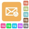Mail warning flat icons on rounded square vivid color backgrounds. - Mail warning rounded square flat icons