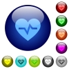 Heartbeat color glass buttons - Heartbeat icons on round color glass buttons