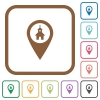Church GPS map location simple icons - Church GPS map location simple icons in color rounded square frames on white background