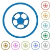 Soccer ball icons with shadows and outlines - Soccer ball flat color vector icons with shadows in round outlines on white background