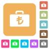 Turkish Lira bag rounded square flat icons - Turkish Lira bag flat icons on rounded square vivid color backgrounds.