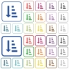 Ascending ordered list mode color flat icons in rounded square frames. Thin and thick versions included. - Ascending ordered list mode outlined flat color icons