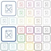 Gas can outlined flat color icons - Gas can color flat icons in rounded square frames. Thin and thick versions included.
