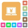 Laptop with yen sign rounded square flat icons - Laptop with yen sign flat icons on rounded square vivid color backgrounds.