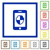 Smartphone protection flat framed icons - Smartphone protection flat color icons in square frames on white background