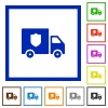 Money deliverer truck flat framed icons - Money deliverer truck flat color icons in square frames on white background