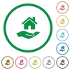 Home insurance flat icons with outlines - Home insurance flat color icons in round outlines on white background