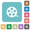 Movie roll rounded square flat icons - Movie roll white flat icons on color rounded square backgrounds