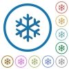 Single snowflake icons with shadows and outlines - Single snowflake flat color vector icons with shadows in round outlines on white background