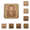 Locked lira wooden buttons - Locked lira on rounded square carved wooden button styles