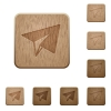 Paper plane wooden buttons - Paper plane on rounded square carved wooden button styles