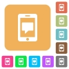 Mobile messaging rounded square flat icons - Mobile messaging flat icons on rounded square vivid color backgrounds.