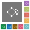Rotate element square flat icons - Rotate element flat icons on simple color square backgrounds