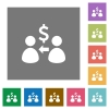 Receive Dollars square flat icons - Receive Dollars flat icons on simple color square backgrounds