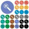 Zoom in round flat multi colored icons - Zoom in multi colored flat icons on round backgrounds. Included white, light and dark icon variations for hover and active status effects, and bonus shades on black backgounds.