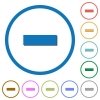 Remove item icons with shadows and outlines - Remove item flat color vector icons with shadows in round outlines on white background