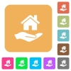Home insurance rounded square flat icons - Home insurance flat icons on rounded square vivid color backgrounds.