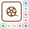 Movie roll simple icons - Movie roll simple icons in color rounded square frames on white background