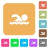 Swimming man rounded square flat icons - Swimming man flat icons on rounded square vivid color backgrounds.