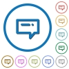 Typing message icons with shadows and outlines - Typing message flat color vector icons with shadows in round outlines on white background