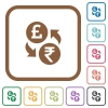 Pound Rupee money exchange simple icons - Pound Rupee money exchange simple icons in color rounded square frames on white background