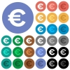 Euro sign round flat multi colored icons - Euro sign multi colored flat icons on round backgrounds. Included white, light and dark icon variations for hover and active status effects, and bonus shades on black backgounds.