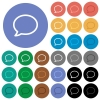 Empty comment bubble round flat multi colored icons - Empty comment bubble multi colored flat icons on round backgrounds. Included white, light and dark icon variations for hover and active status effects, and bonus shades on black backgounds.