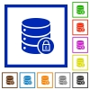 Database lock flat framed icons - Database lock flat color icons in square frames on white background