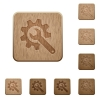 Wrench with cogwheel wooden buttons - Wrench with cogwheel on rounded square carved wooden button styles