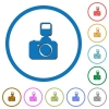 Camera with flash icons with shadows and outlines - Camera with flash flat color vector icons with shadows in round outlines on white background