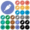 USB plug round flat multi colored icons - USB plug multi colored flat icons on round backgrounds. Included white, light and dark icon variations for hover and active status effects, and bonus shades on black backgounds.