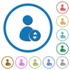Move user account icons with shadows and outlines - Move user account flat color vector icons with shadows in round outlines on white background